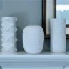 Trio of West German Modernist  white porcelain vases on a New Jersey mantel.