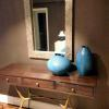 Pair of contemporary ceramic blue waffle vases for a NYC foyer..