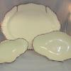 Trio of Wedgwood creamware dishes - platter & 2 dessert dishes- with a puce edge.c.1790-1800