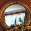 Large oval Victorian gilt floral mirror for a New Jersey home.